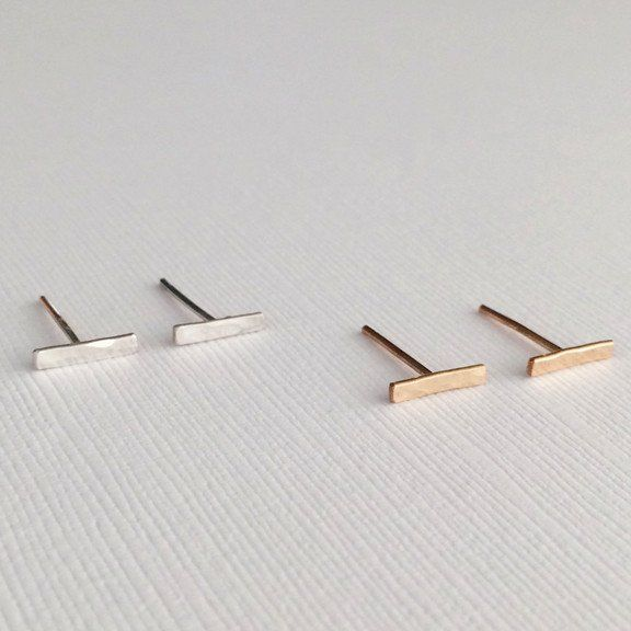 Hammered Bar Stud Earrings, dainty jewelry, sterling silver studs, 14k gold filled studs, small stud earrings, post earrings, handmade jewelry, gifts for her, gifts under 25