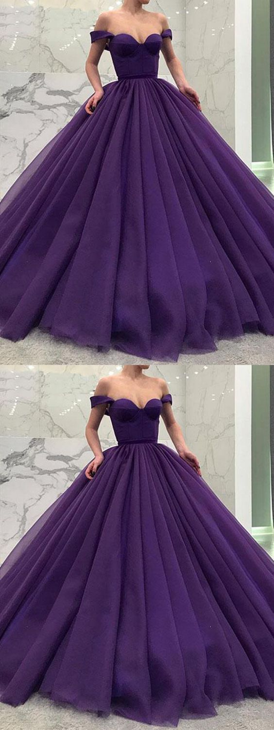 Charming aline off the shoulder open back purple tulle long prom