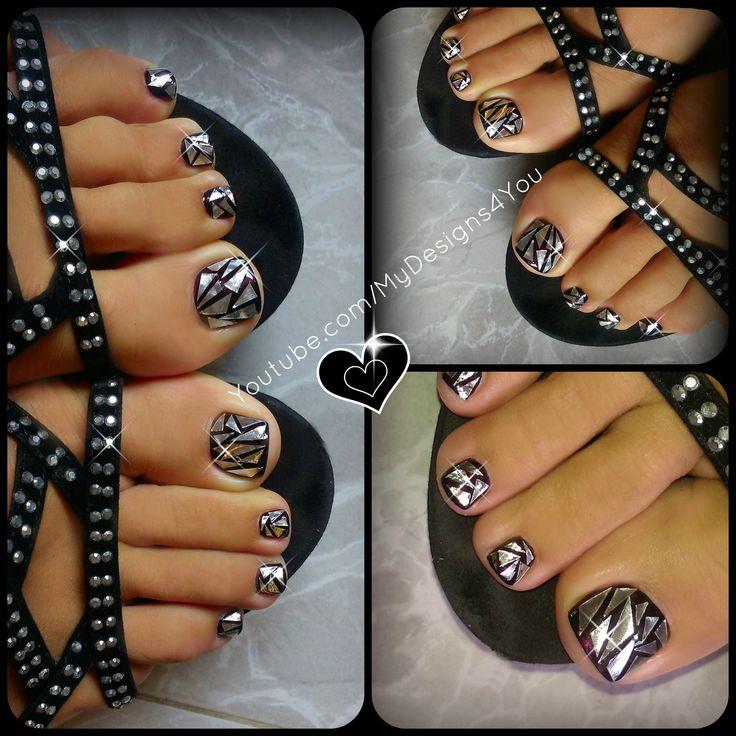 Shattered glass nail art design. Broken mirror effect toenail art.