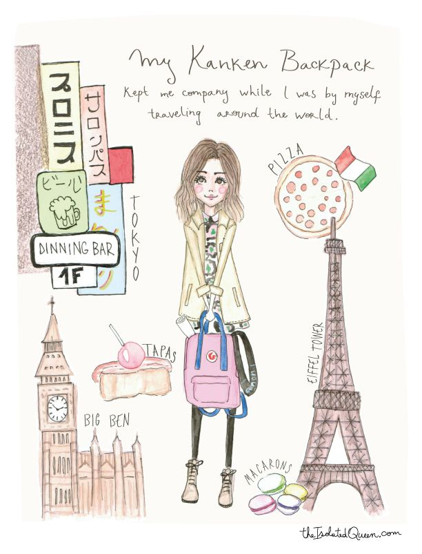 How Fashion marked my life, send us your story about how an item in fashion marked a moment in your life, and we will illustrate for you. First edition, The isolated Queen's Kanken backpack! A loyal companion while traveling around the world. Read the story at http://theisolatedqueen.com/?p=254