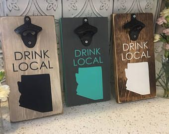 Drink local bottle opener | personalized beer bottle opener | wall mounted bottle opener |drink local | wood bottle opener #rustic #gift #giftideas #shoplocal #localbeer #beer #beeropener #bottleopener #farmhouse #diy #states #kitchen #livingroom #diningroom #mancave #affiliate