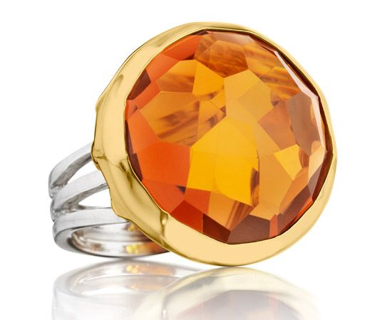 Symmetry: 18Kt Gold & Sterling Silver Ring with Citrine