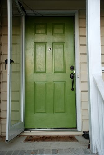 Lime Green Front Door With Black Shutters Google Search
