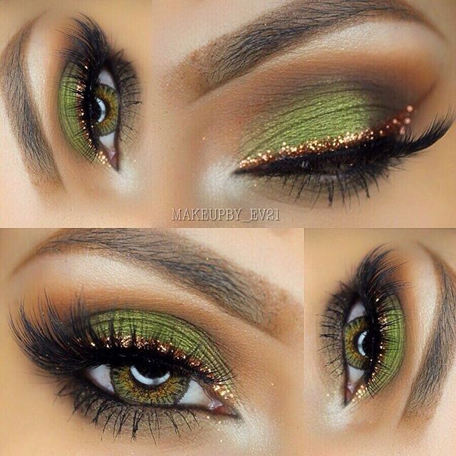 Love the green shadow and gold liner More