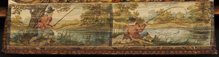 The lives of Dr. John Donne, Sir Henry Wotton, Mr. Richard Hooker, Mr. George Herbert and Dr. Robert Sanderson / written by Izaak Walton. Oxford : Clarendon Press, 1824. Bound in contemporary calf, gilt edges. Fore-edge painting divided into two parts, showing an angler arriving on the bank of a stream, in the first part, and the same scene with the man in the act of fishing, in the other part.