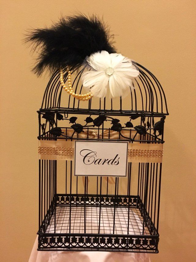 Great Gatsby Wedding Birdcage, Black Birdcage Card Holder, Wedding Card Holder, Black and Gold, Wedding, Bird cage #babyshowerideas4u #birthdayparty  #babyshowerdecorations  #bridalshower  #bridalshowerideas #babyshowergames #bridalshowergame  #bridalshowerfavors  #bridalshowercakes  #babyshowerfavors  #babyshowercakes