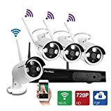 AKASO 4CH 720P HD WIFI Security Camera System Wireless Video Surveillance Home Security Remote Monitoring System Network NVR Kits CCTV IP Camera Cameras System Without HDD(Mode: WS1M-401)