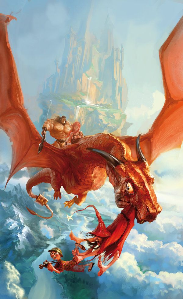 """The French cover art for Terry Pratchett's """"The colour of magic"""" by Marc Simonetti"""