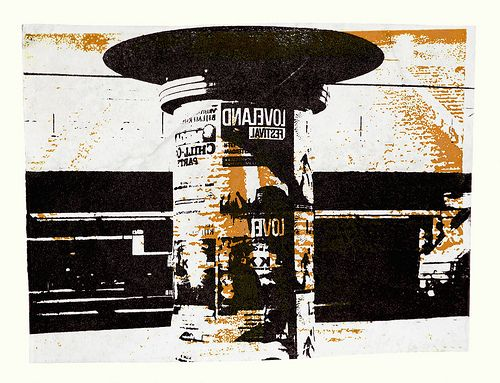 - Billboard near subway-station Bullewijk, Amsterdam city - an unique monotype print - graphic collage art, for sale