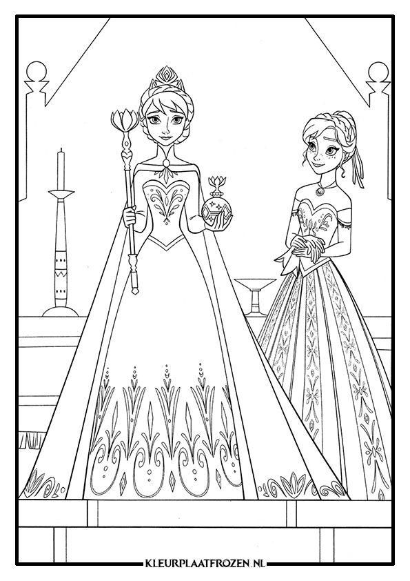Kerst Kleurplaten Frozen Kleurplaat Van Elsa En Anna Uit Frozen Kleurplaten Elsa