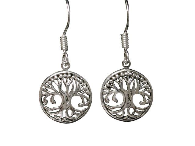 Sterling Silver 12mm Tree Of Life Drop Earrings