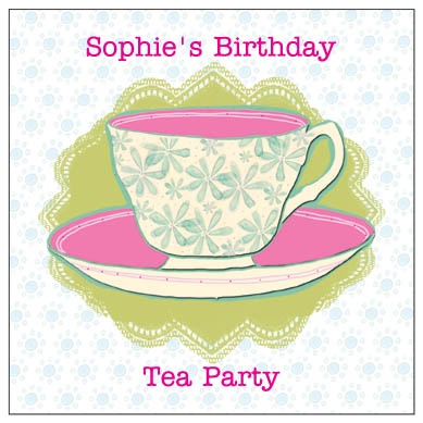 Tea Party - personalised printed birthday party invitations