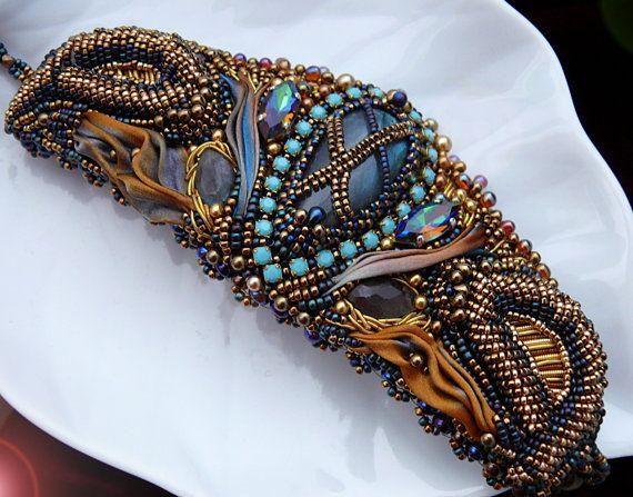 Chrysocolla and Amber Bead Embroidered Cuff Bracelet by sedonaskye
