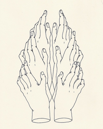 Justin Nelson - Idol Hands, ink on paper