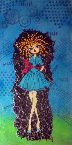 Doll 12 x 6 wood.Painted and stamped background.Textured paper with a stamp cutout image.