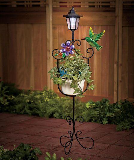 Hummingbird Solar Light Plant Stand Lawn Yard Garden Decor Outdoor Lighting