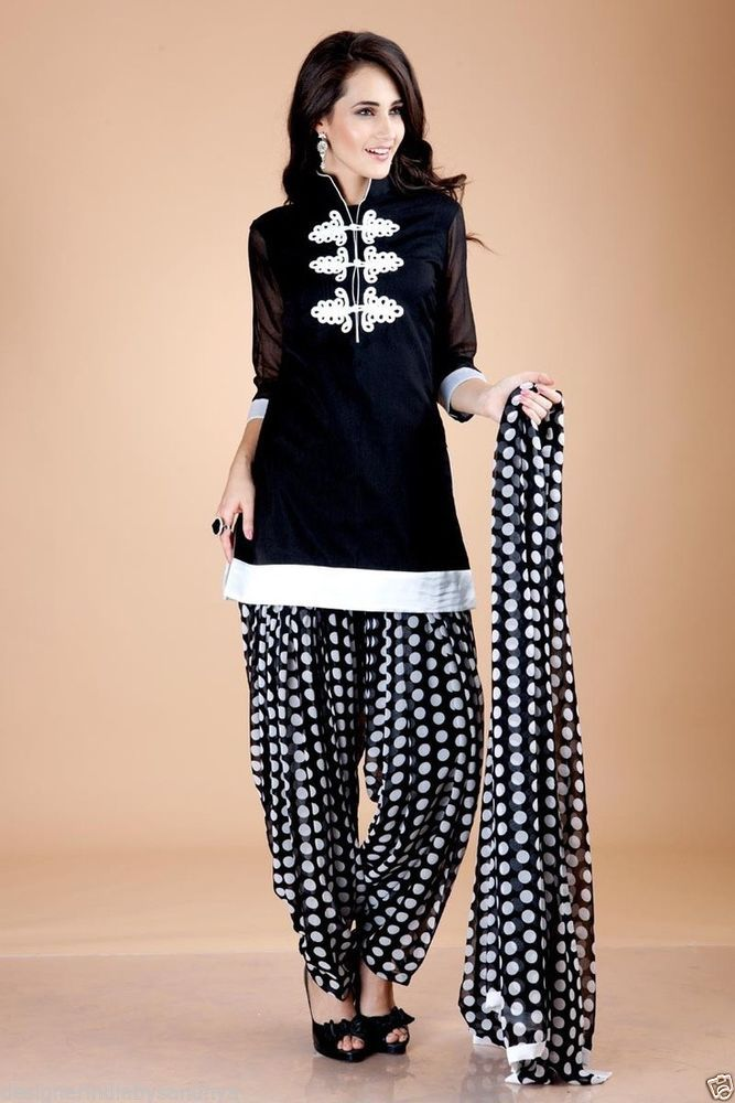 PUNJABI PATIALA SALWAR KAMEEZ ONLINE SHOPPING INDIAN SALWAR KAMEEZ BLACK POLKA