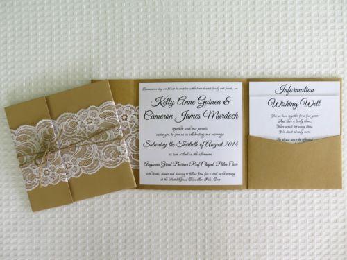DIY Kraft Pocketfold Invitation Kraft Paper Pocket Fold Wedding Invitation | eBay