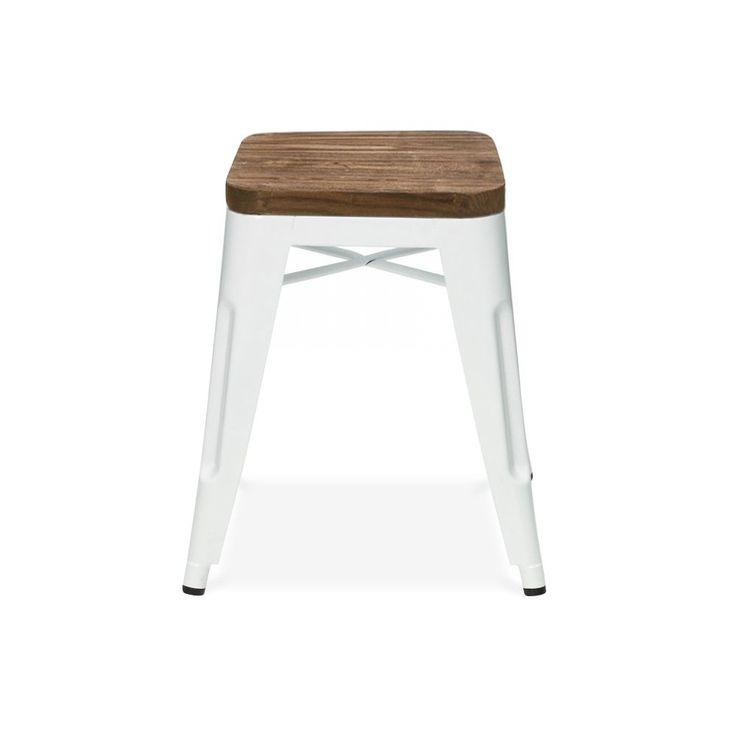 Xavier Pauchard Toilx Style Stool - White Powder Coated with Wooden Seat 45cm