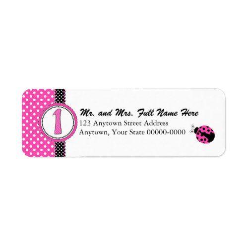 Cute Ladybugs 1st Birthday - Pink Label