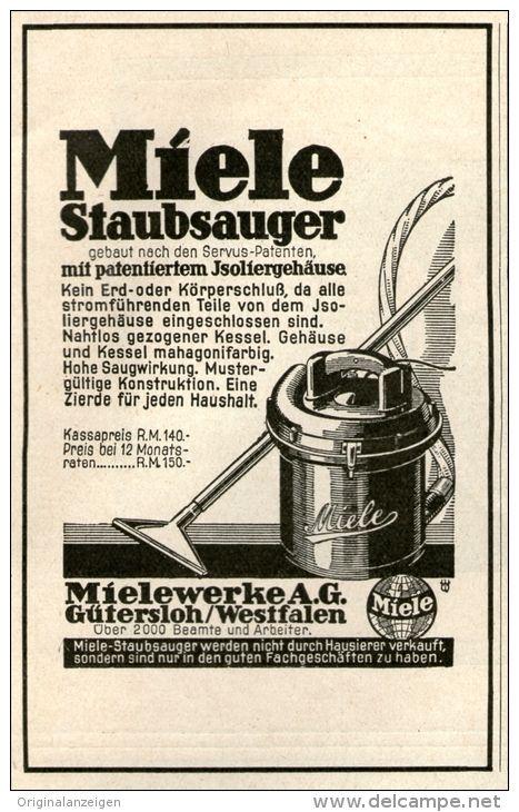 Original-Werbung/ Anzeige 1928 - MIELE STAUBSAUGER GÜTERSLOH -  ca. 70 x 110 mm