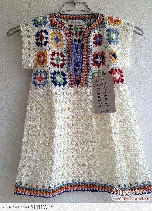 sukienka na szydełku dla dziewczynki / szydełko / dziec…