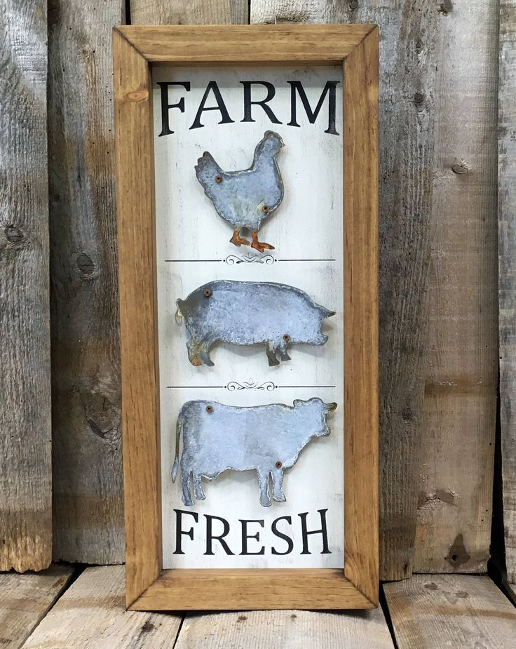 Farmhouse Metal Sign Kitchen Rustic Farm Decor Fresh Cow Pig Hen Animal In 2018 Pinterest