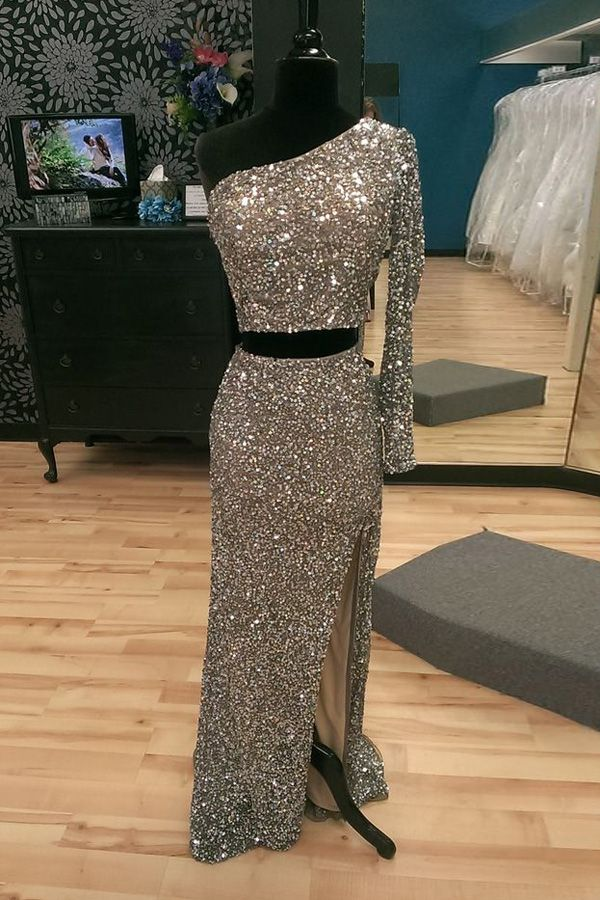 sparkling prom dresses,two-pieces prom dresses.one shoulder prom dresses,split prom dresses