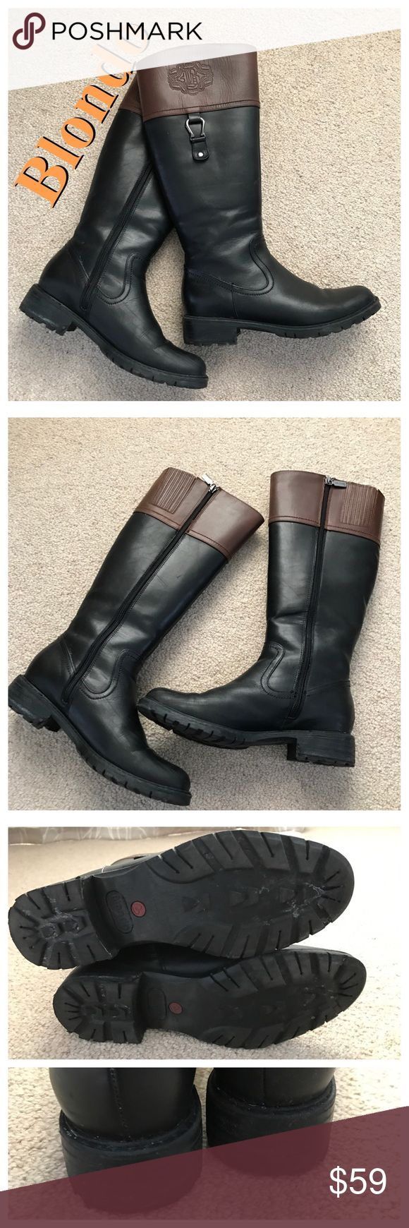 BLONDO Leather Riding Boots Classic riding boot style. Black leather with brown top. Embossed logos at calves. Silver loop hardware at sides. Full side zipper closure. Stretch panels at calves. Rubber lug soles. Lined and water resistant. Minor signs of wear but in overall excellent condition. Blondo Shoes Winter & Rain Boots
