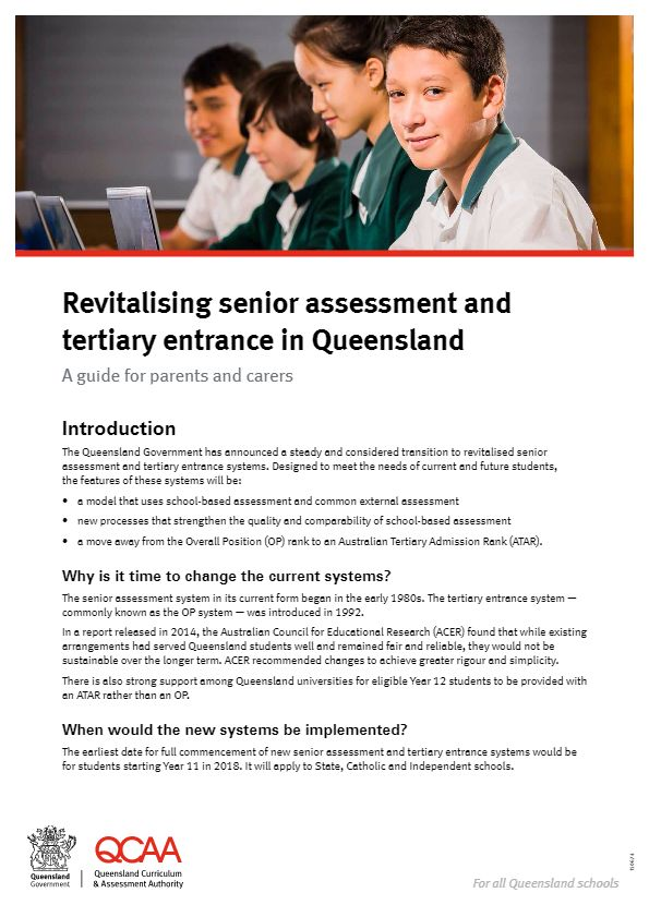Revitalising senior assessment and tertiary entrance in Queensland - A guide for parents and carers