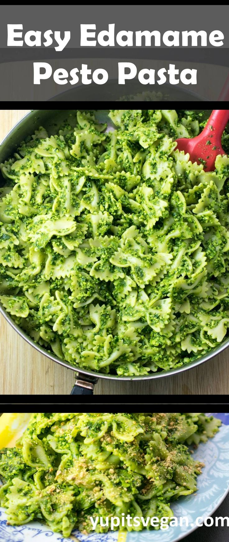 Edamame Pesto Pasta | Yup, it's Vegan. #Vegan and #DairyFree pesto packed with protein and fresh basil flavor! #Pesto #Spinach