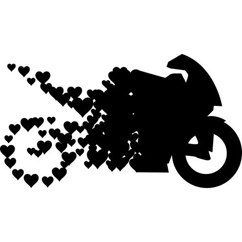A motorcycle made of hearts, for every biker.