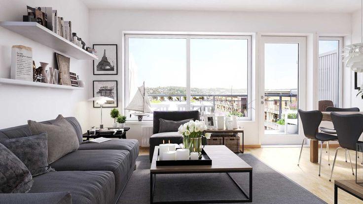 Moss Glassverk leilighet 15 Stue mot balkong