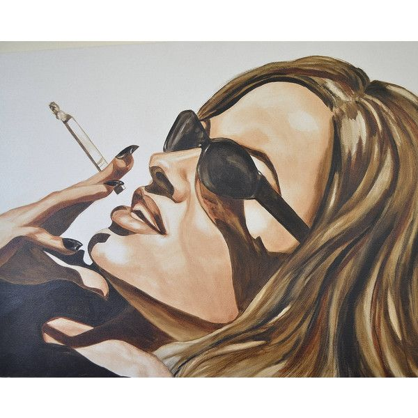 Relaxing poolside~Large original oil painting of girl smoking... ($1,200) ❤ liked on Polyvore featuring home, home decor, wall art, photo wall art, photo painting, girl painting and girls wall art
