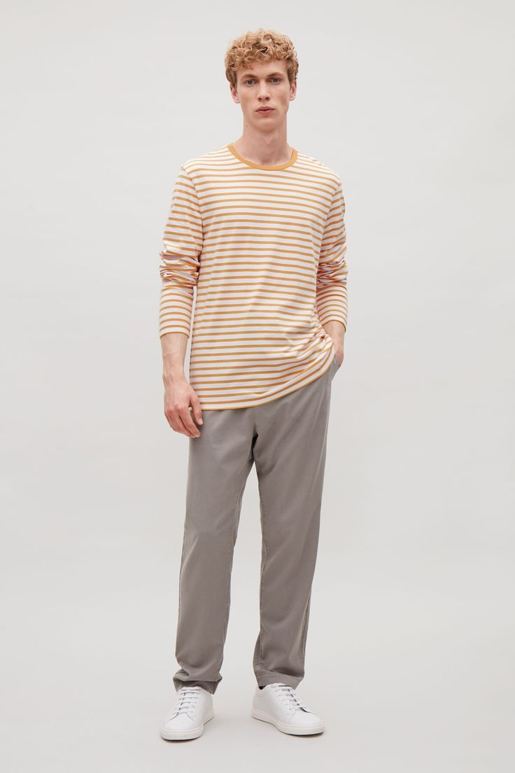COS | Striped long-sleeve t-shirt in Golden Yellow