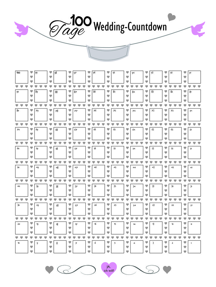 100 Tage Countdown-Kalender für die Hochzeitsvorbereitungszeit. Das Brautpaar kann jeden Tag einen Stempelabdruck in das vorgesehene Feld auf der Leinwand machen bis der Tag immer näher rückt.
