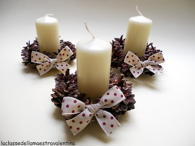 Pine Cone Candle Holder Could use aqua or turquoise ribbon, or maybe if we could find chevron burlap