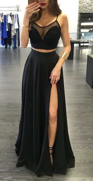 prom dresses,2017 Spaghetti Straps Prom Dresses,Custom Made Black Prom Dress,Sexy Two Pieces Evening Dress,Floor Length Party Gown