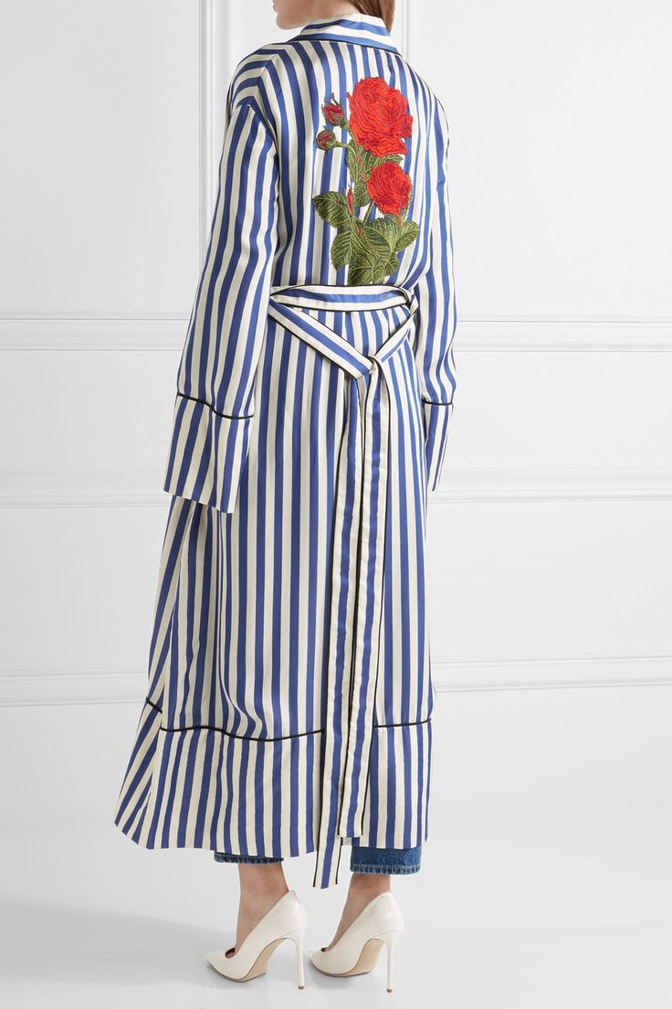 Off-White | Embroidered striped satin coat | NET-A-PORTER.COM