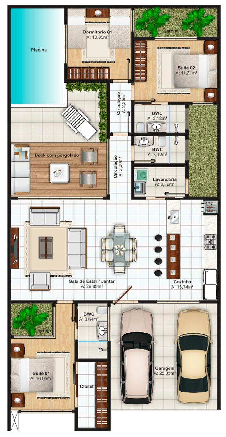 Pinterest: @claudiagabg | Casa 3 cuartos piscina