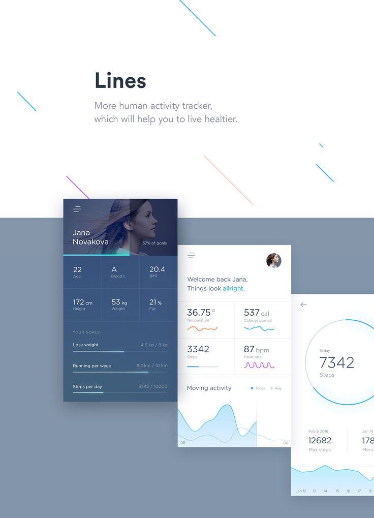 Lines activity tracker on Behance