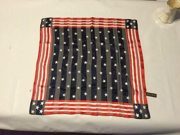 """Vtg Echo American Flag Stars & Stripes 100% Silk Chiffon Scarf 21"""""""" Sq #Echo #Scarf"""