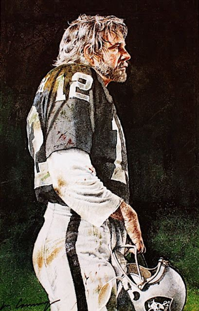 Oakland Raiders Quarterback Kenny Stabler portrait by Merv Corning Pro Football Journal Presents: NFL Art