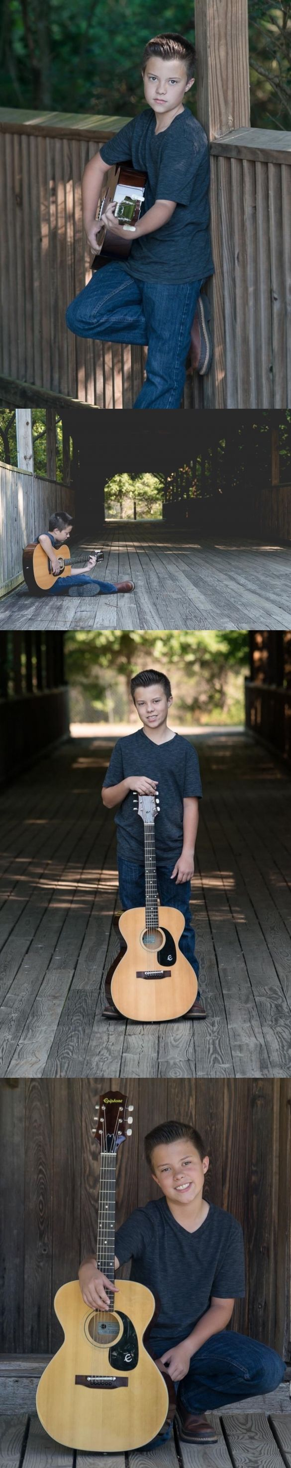 Boy with acoustic guitar photography