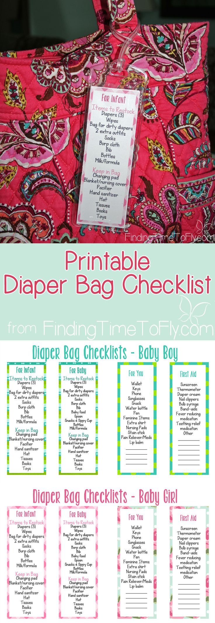 Diaper Bag Checklist...something every new Mom needs!