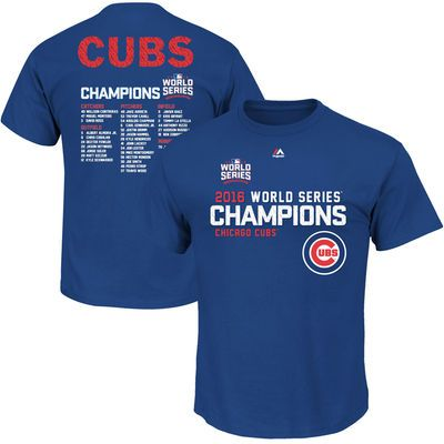Chicago Cubs Majestic 2016 World Series Champions Sweet Lineup Roster T-Shirt - Royal