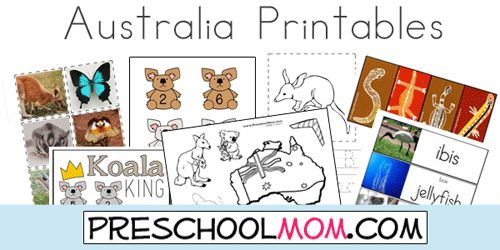 Australia Printables: Animal ABC's, Photo Wordwall, Coloring, File Folder Games and more at PreschoolMom.com