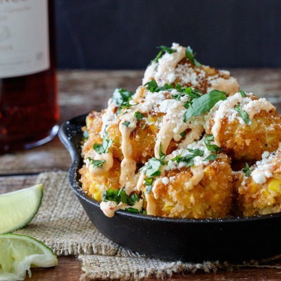 Mexican Street Corn Croquettes.  All the flavor of Mexican Street Corn (Elotes) in a bite-sized tapas croquette