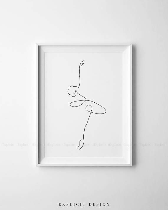 Figurative Shapes Ballerina Art Black and White Mid Century Modern Art
