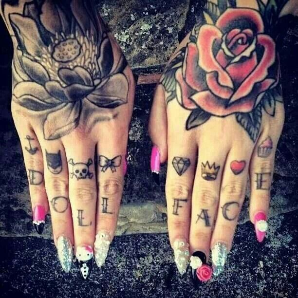I would love to have doll face tatted on my fingers, hubby would not agree!!